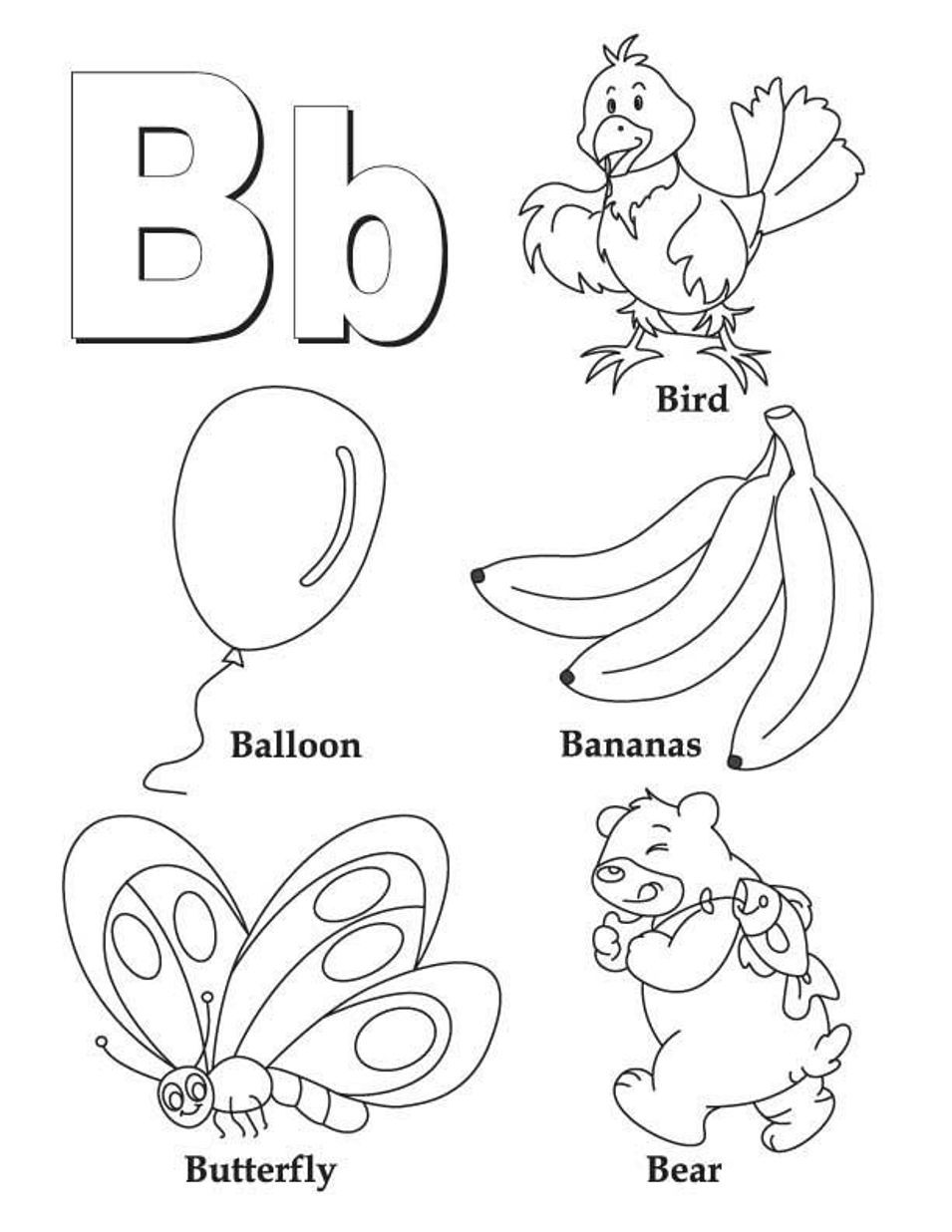 Alphabet Coloring Pages B Word Printable Animals Letter B Coloring Pages Letter B Worksheets Alphabet Coloring Pages
