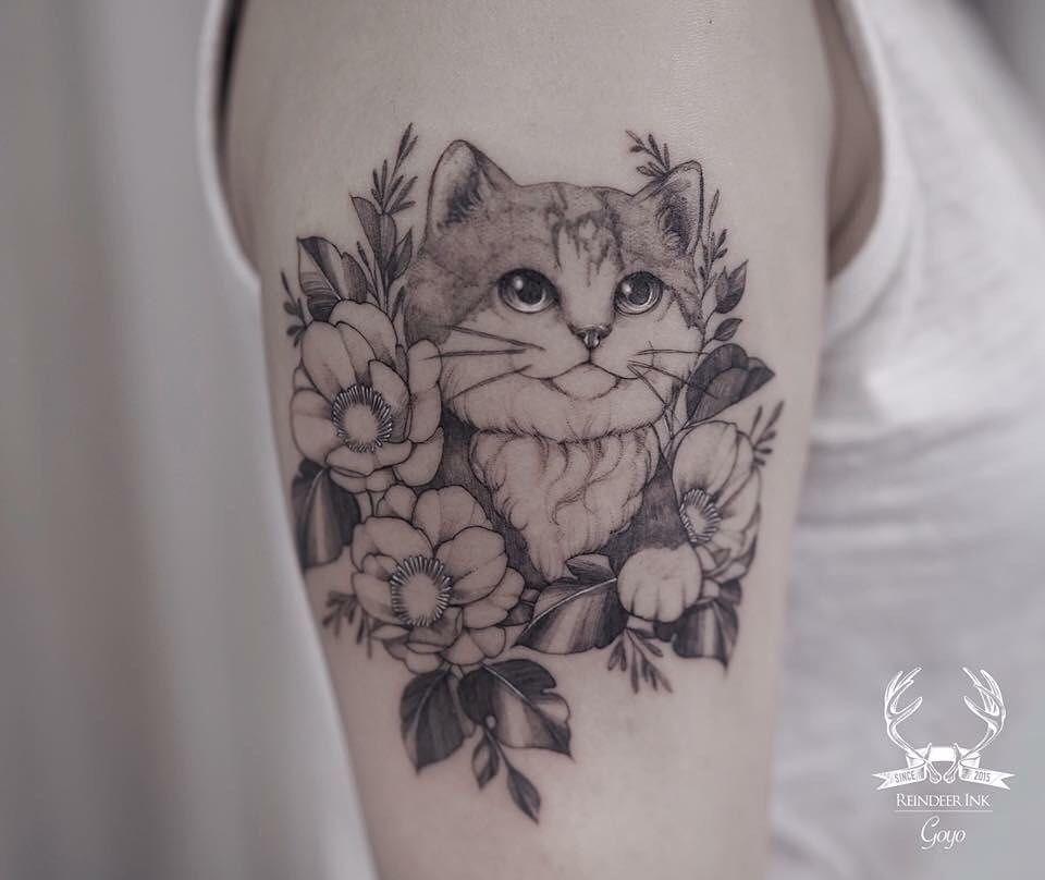 Cat Tatoos Archives Cat Tattoo Cat Tattoo Designs Flower Tattoos