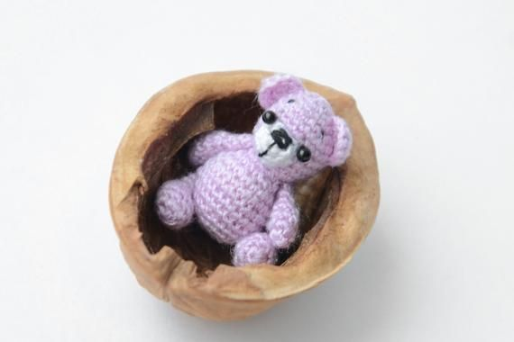 Crochet Lilac bear Mini bear Crochet bear toy Teddy bear Little bear Handmade bear Black eyes Amigurumi toys Handmade toys Thanksgiving Day #beartoy