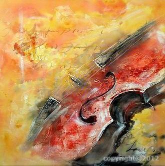 tableau peinture violon orange … | Musique