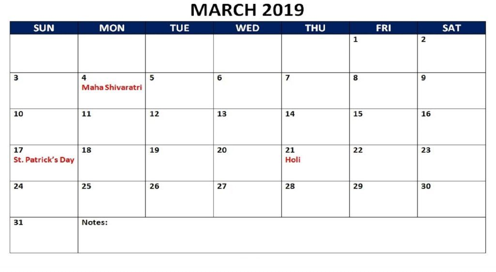 March 2019 Holidays Calendar | Calendar march, Calendar ...