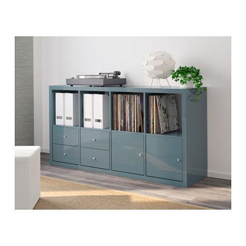 kallax regal mit 4 eins tzen hochglanz graut rkis kallax regal hochglanz und b ros. Black Bedroom Furniture Sets. Home Design Ideas