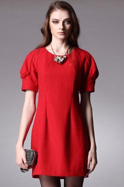 #RomwePartyDress  ROMWE   Puff Sleeves Red Dress, The Latest Street Fashion