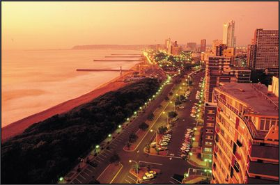 Great photo. Durban and  the Golden Mile at Sunset