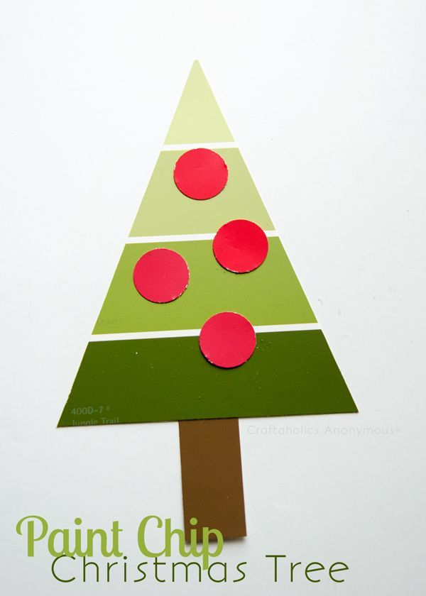 Simple Christmas craft for kids or preschool. Paint Chip Christmas Tree. Great way to use up old paint chips!