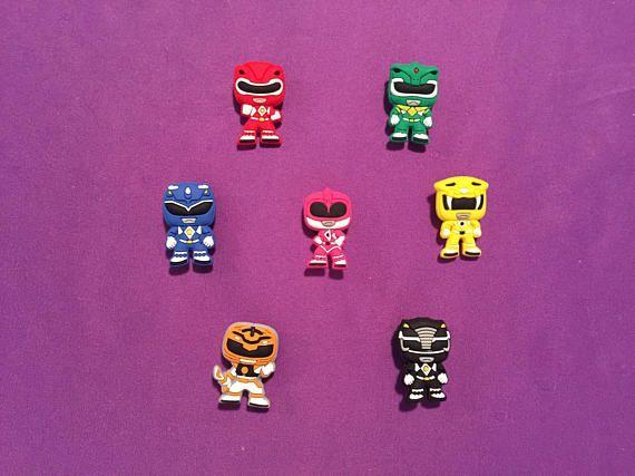 7 x Power Rangers Croc Shoe Charms Jibbitz Crocs Charm Wristbands Gold Ranger