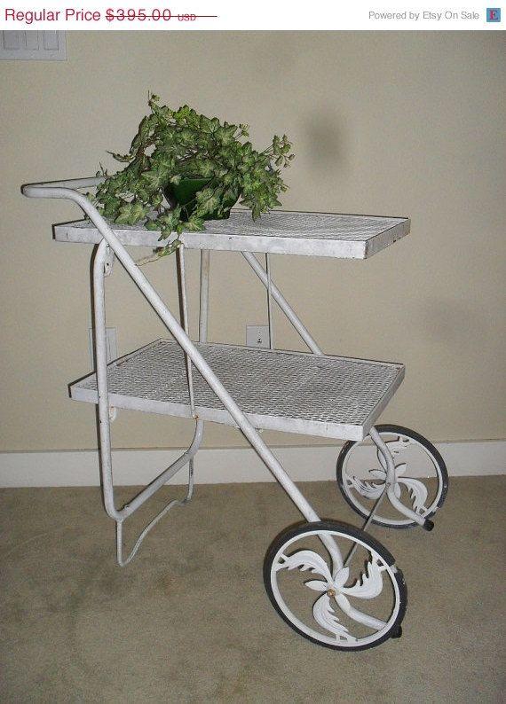 Vintage Mid Century Folding Wrought Iron Garden Tea Cart Bar Cart Trolley   2 Shelves
