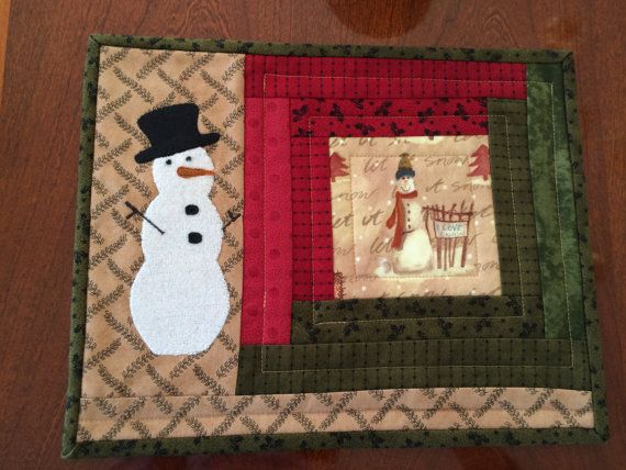 Snowman Quilted and Appliquéd candle mat or table by seaquilt