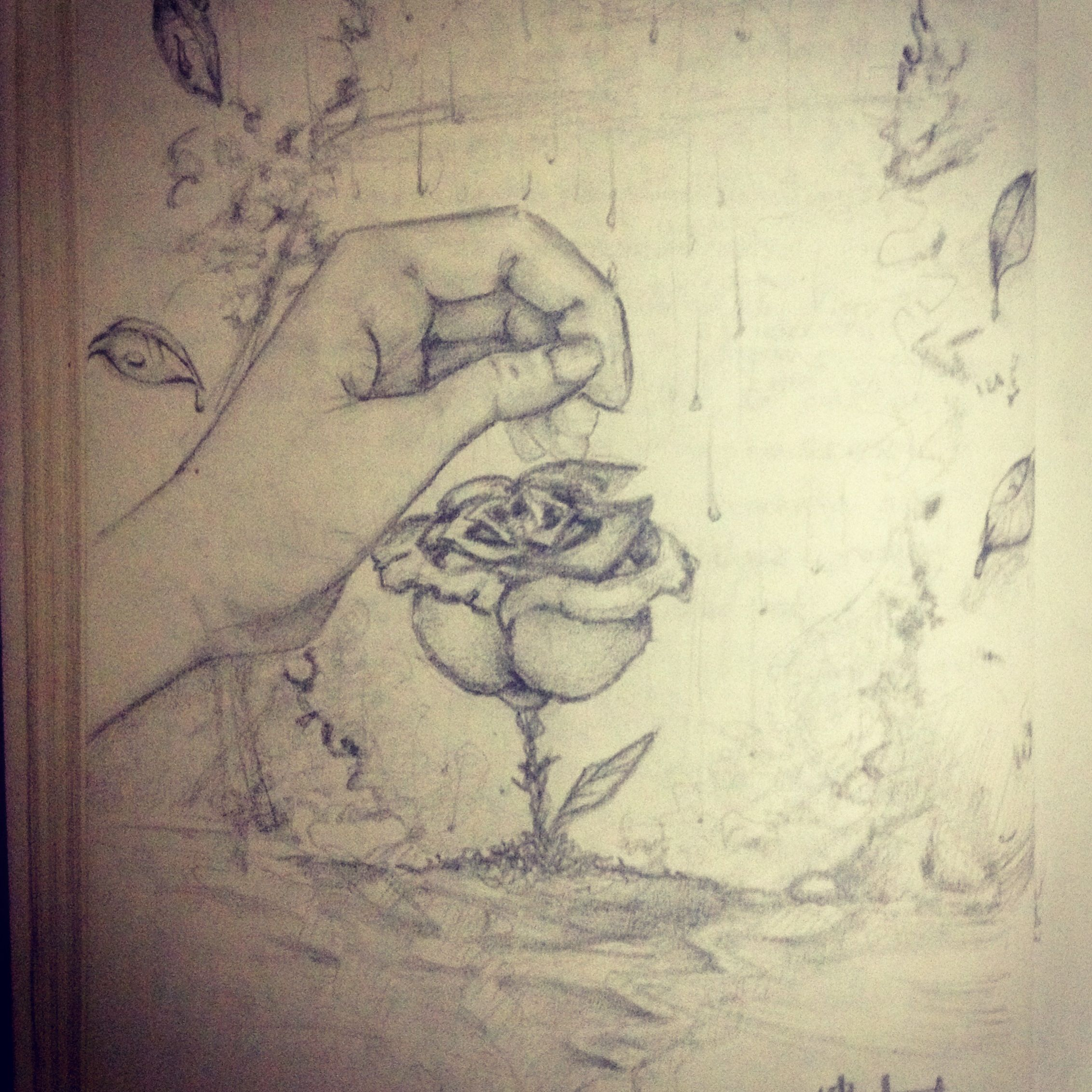 Flor Bajo La Lluvia Art Draw Drawing Mano Hand Dibujo Lapiz Artist Visual Beautifull Poem Suave Lluvia Rain Flower Dibujos Dibujos A Lapiz Lluvia