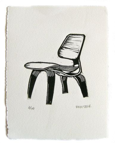 Eames Molded Plywood Linocut by Eric Rewitzer at 3 Fish Studios