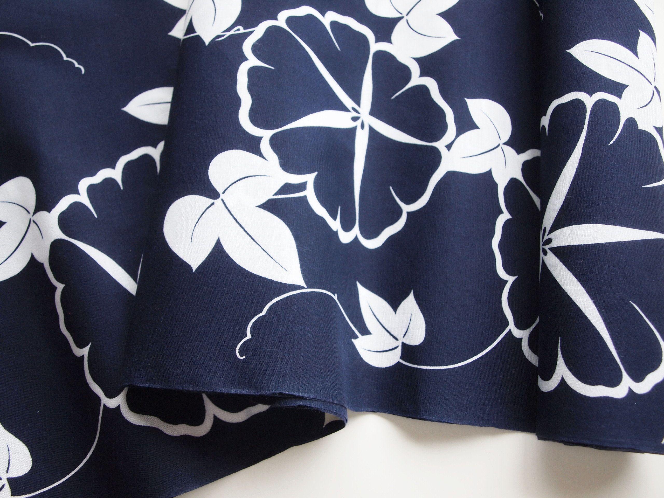 Yukata Cotton Fabric Unused Bolt By The Yard Blue 100 Etsy Fabric Cotton Fabric Yukata