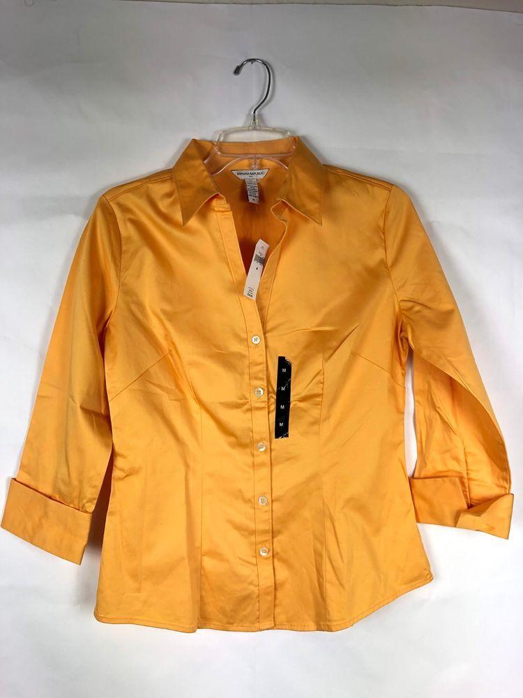 a450d61d Banana Republic NWT Women's Button Down Blouse Size M Shirt Yellow/Orange  Top 79 #BananaRepublic #Blouse #Career