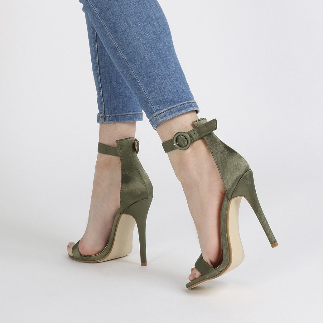 Crystal Self Buckled Barely There Heels in Khaki Satin