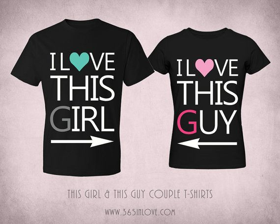 bbb8411587 Couple Matching T-shirt - Black Cute Tops with Typography Wording I love  this Girl and I love this Guy Couple Shirts