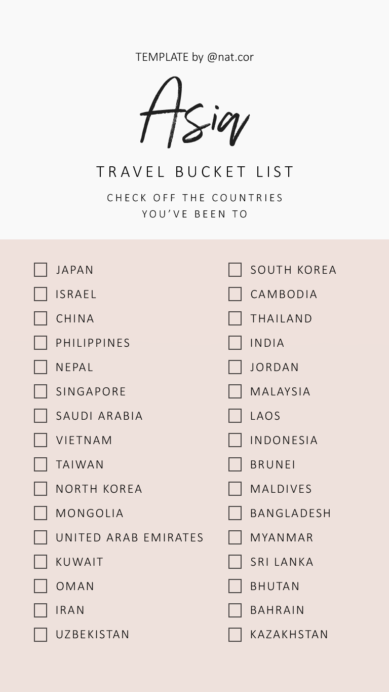 traveling check off list