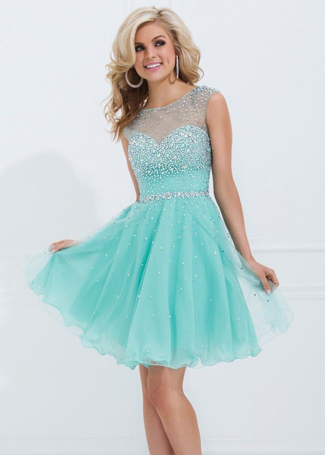 New Arrival Cheap Sweetest Beaded Short Emerald Tulle Homecoming ...