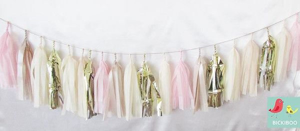Tissue Paper Tassel Garland - Pink Champagne $34.95 3 metre 20 tassel garland