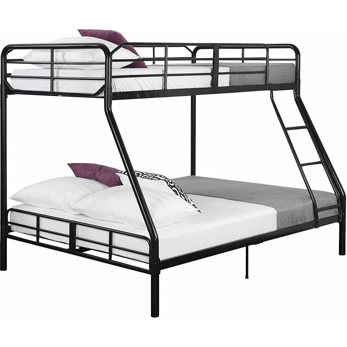Twin Over Full Bunk Bed Kids Teens Bedroom Dorm Furniture Metal