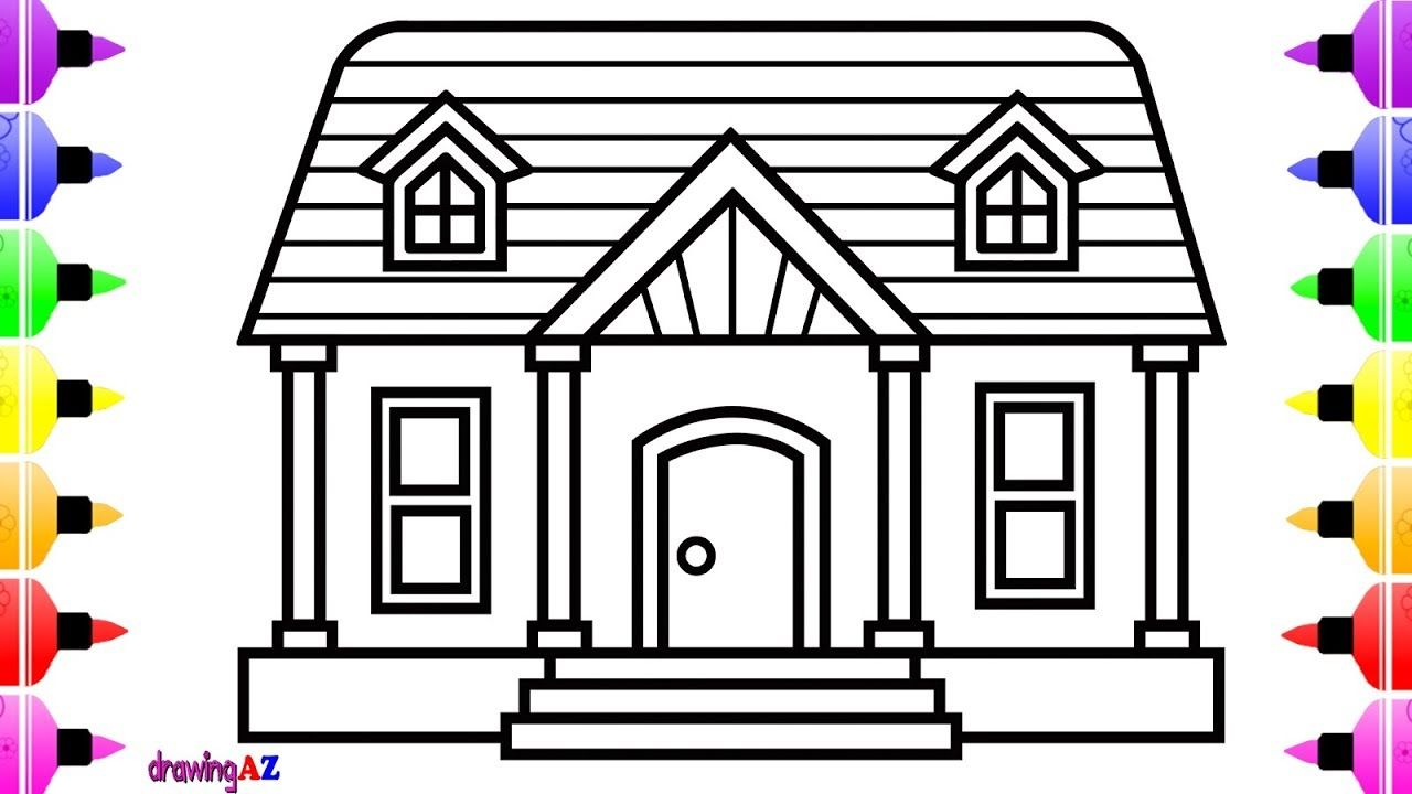 How To Draw House For Kids Cute House For Kids Coloring Page