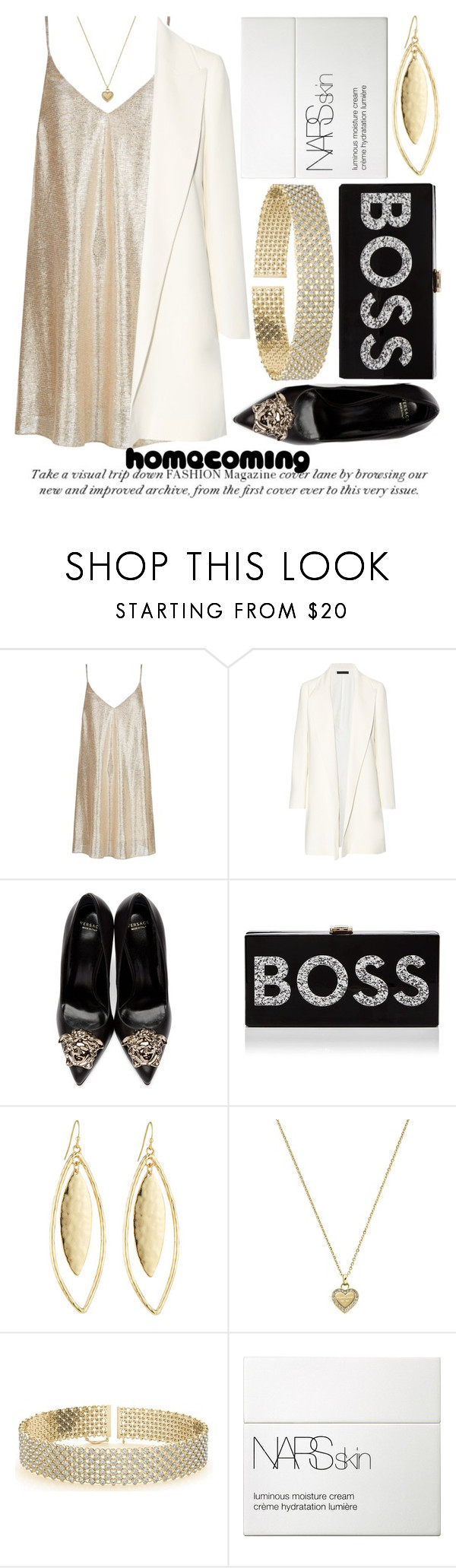 """HOMECOMING STYLE #2"" by noraaaaaaaaa ❤ liked on Polyvore featuring New Look, The Row, Versace, Milly, Fragments, Michael Kors, Allurez and NARS Cosmetics"