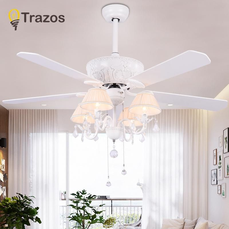 Trazos 52 Inch Crystal Modern Led Ceiling Fans With Lights Wood Blade Bedroom Ceiling Light Fan