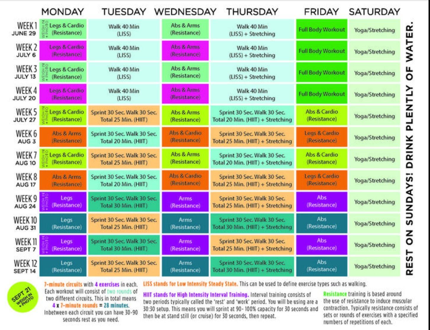 bbg workout timetable