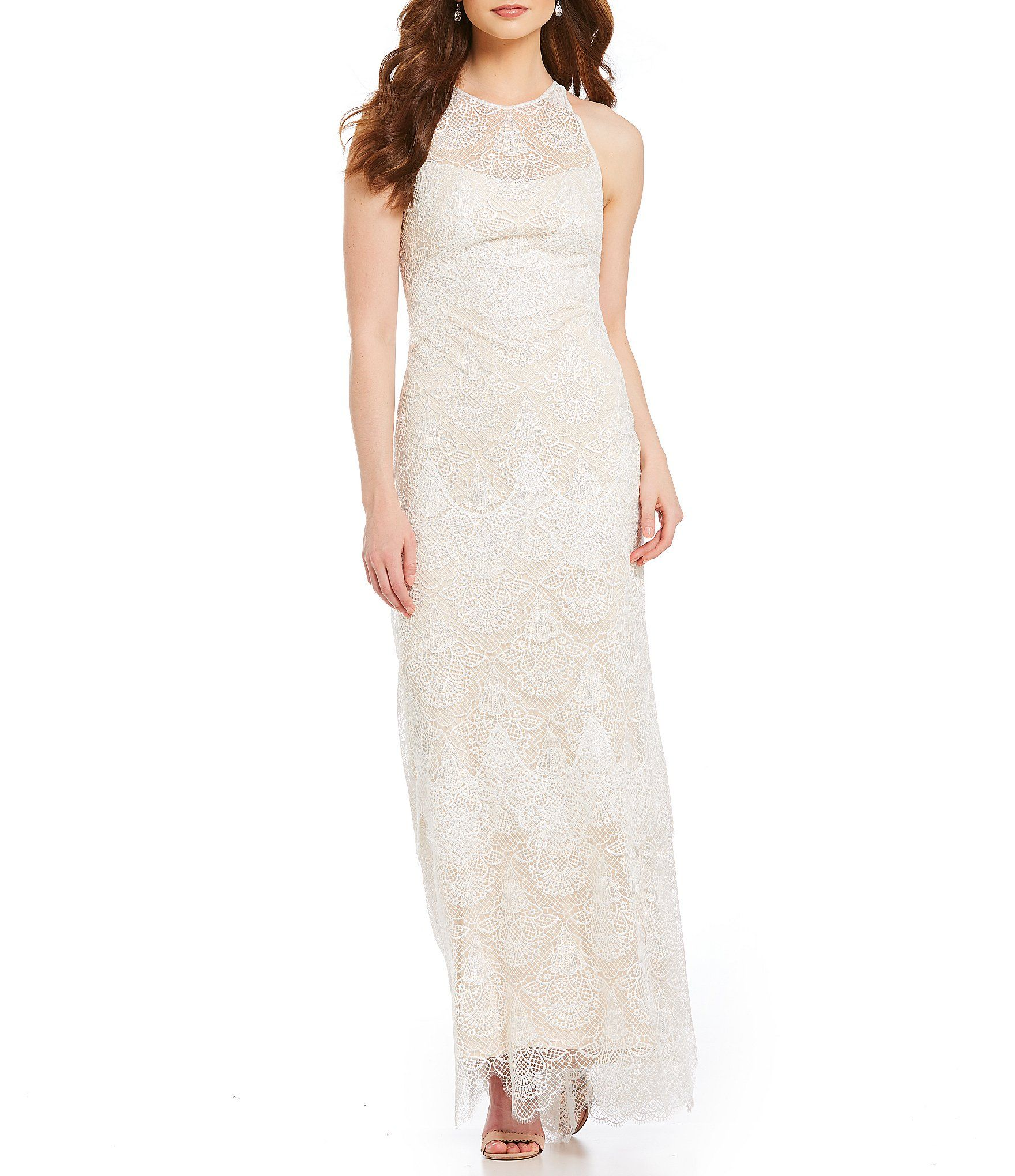 Tadashi Shoji Scalloped Lace Gown Dillards Lace Gown Lace Evening Dresses White Gown Dress [ 2040 x 1760 Pixel ]