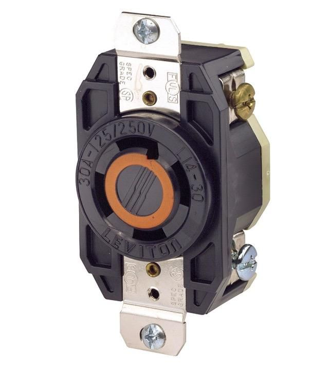 L14 30 30 Amp 125 250 Volt Ac Receptacle Twist Lock Leviton Home Electrical Wiring Industrial Grade
