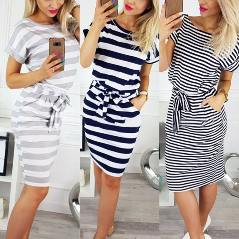 d11e39290df0 Womens Lace Up Striped Bodycon Short Sleeve Pocket Summer Casual Slim Midi  Dress #affilink