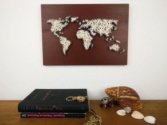 Weltkarte Wanddeko Holz Kleine Weltkarte Wanderlust Geschenk