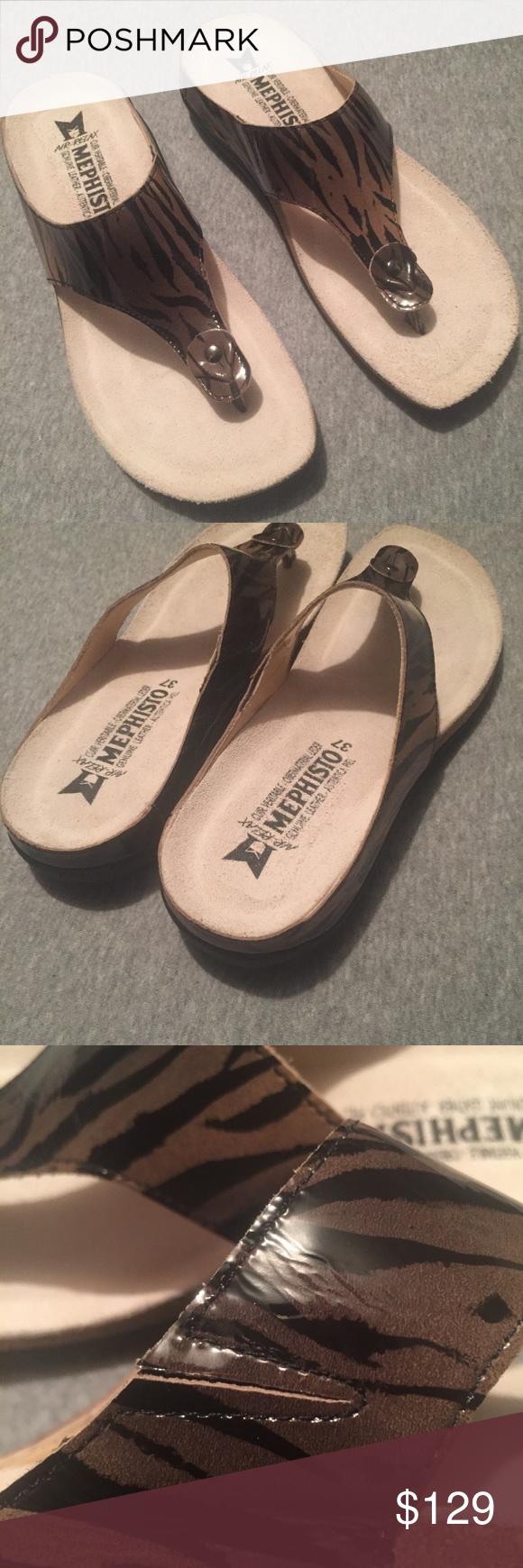 Women's Mephisto Tiger Print Patent Sandals Sz 37 Patent