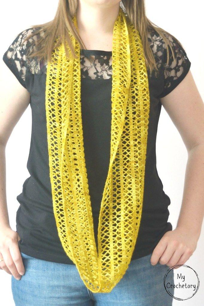 Crochet Sunny Lace Cowl | Crochet scarves | Pinterest