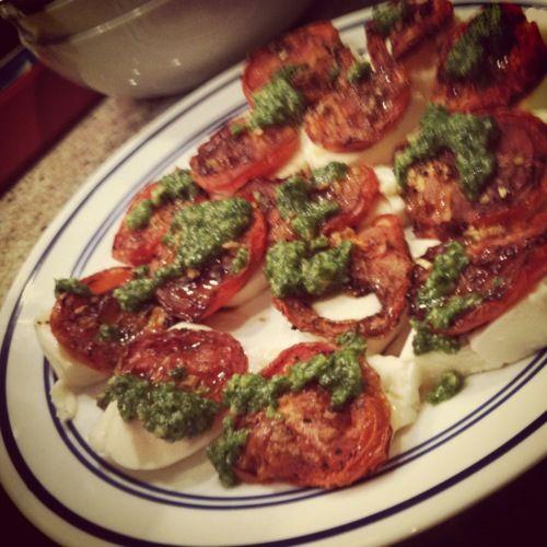 Roasted caprese salad with basil pesto