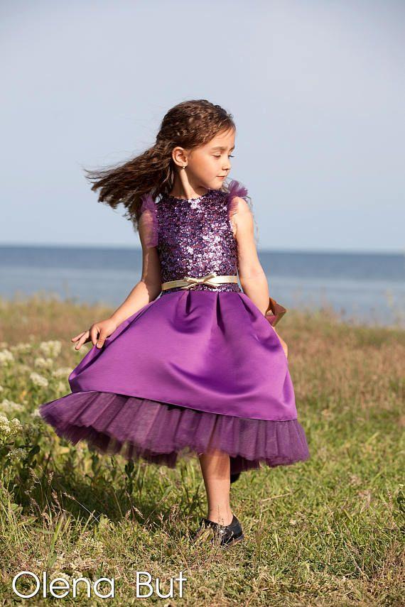 Flower Girl Dress Tutu Dress Photo Prop Purple Flower Dress Eggplant ...