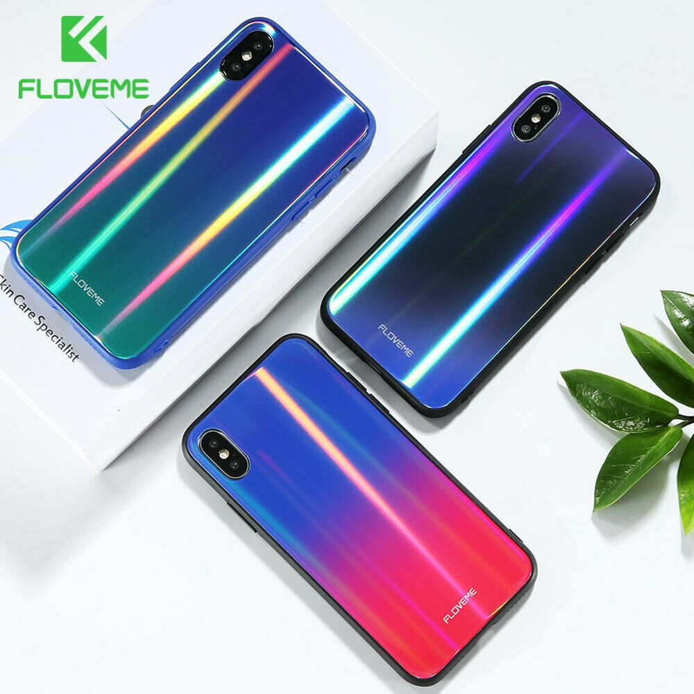 Aurora Tempered Glass Case Iphone X 7 8 Xr Max Luxury Glossy Silicone Edge Cover Floveme Iphone Iphone Cases Cute Phone Cases