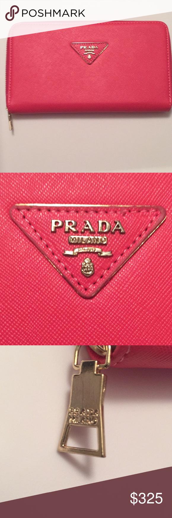 d7b1b41eeb5e75 Pink Prada Saffiano Leather Zip Around Wallet 👛 Pink Prada Saffiano  Leather Zip Around Wallet with triangle Prada logo Clutch, zipper wallet  EUC Multi ...
