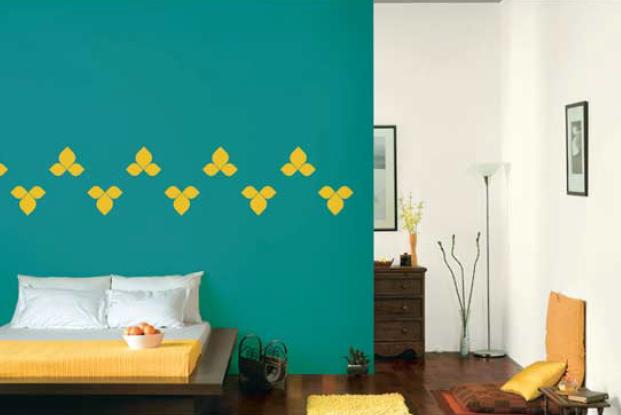 bedroom walls in jade impact 7526 mudra stencil in mustard 7901
