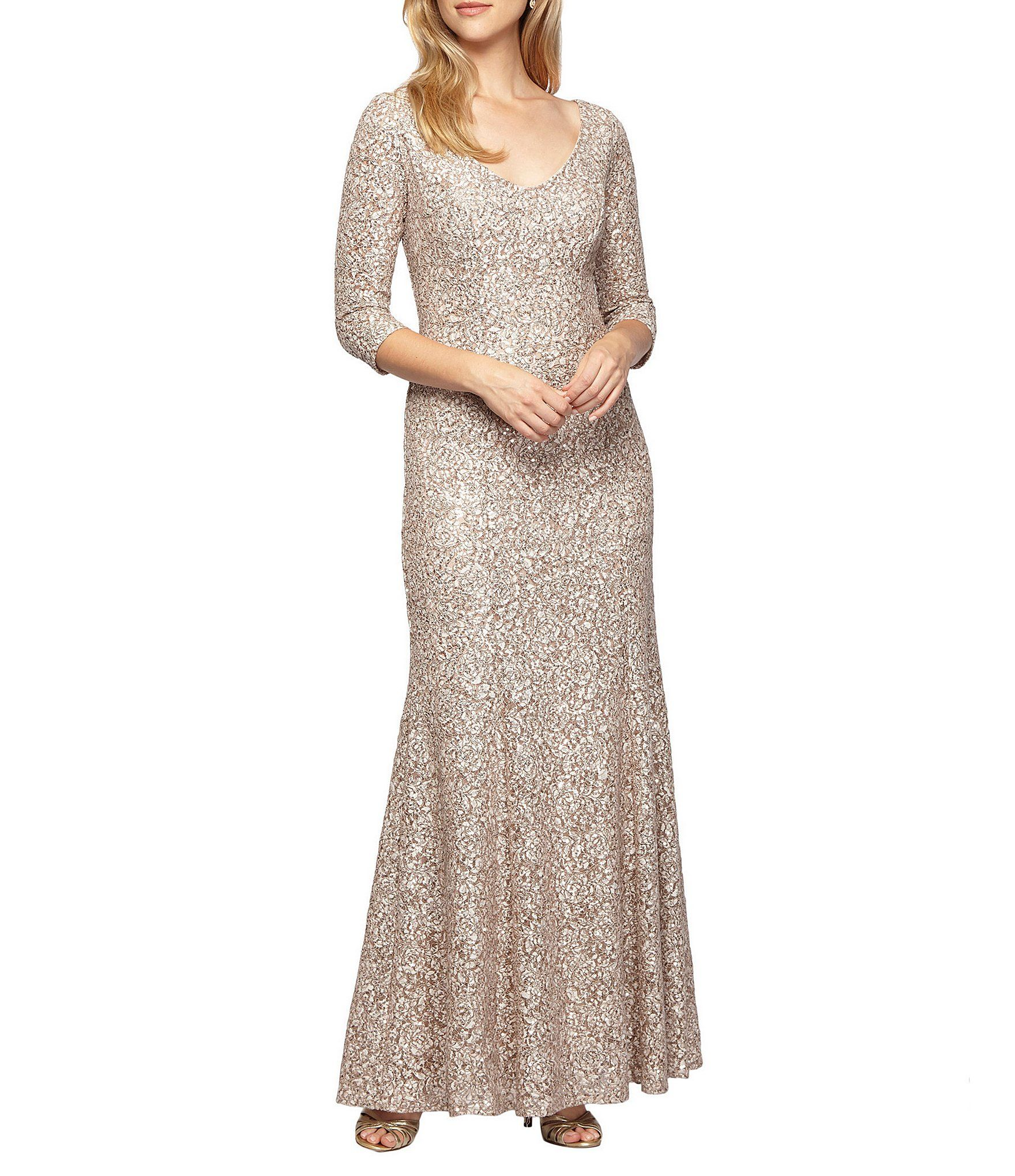 Alex Evenings Sequined Lace 34 Sleeve Gown Dillards Evening Gowns With Sleeves Gowns A Line Gown [ 2040 x 1760 Pixel ]