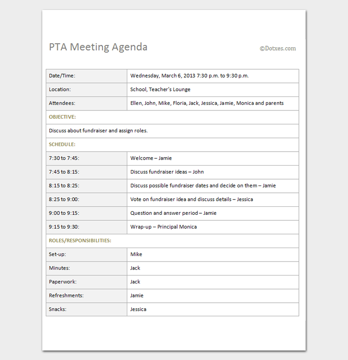 Example Of Agenda For A Meeting Enchanting Pta Meeting Agenda Outline Template  Outline Templates  Create A .