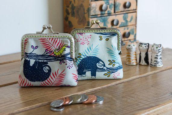 Small coin purse made with super cute sloth by CrimsonRabbitBurrow