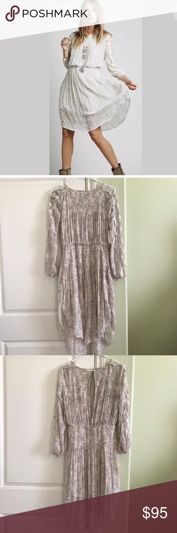FREE PEOPLE  Charlotte  Dress in Alabaster NWT Round neck  Long sleeves with sheer lace panels  Elasticized waist  Button cuffs  Gathered skirt  Open back with hook closure  Lined   MATERIAL & CARE INSTRUCTIONS  Shell: 100% Polyester  Lining: 100% Rayon  Lace: 70% Rayon, 30% Nylon  Hand wash; May be dry cleaned Free People Dresses Midi