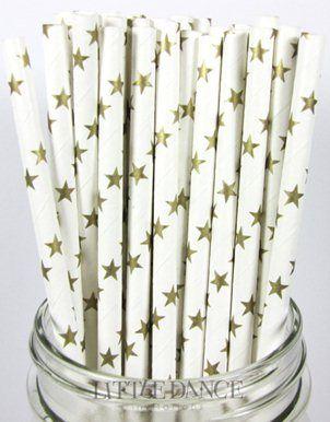 Canudos com estrelas metalizadas