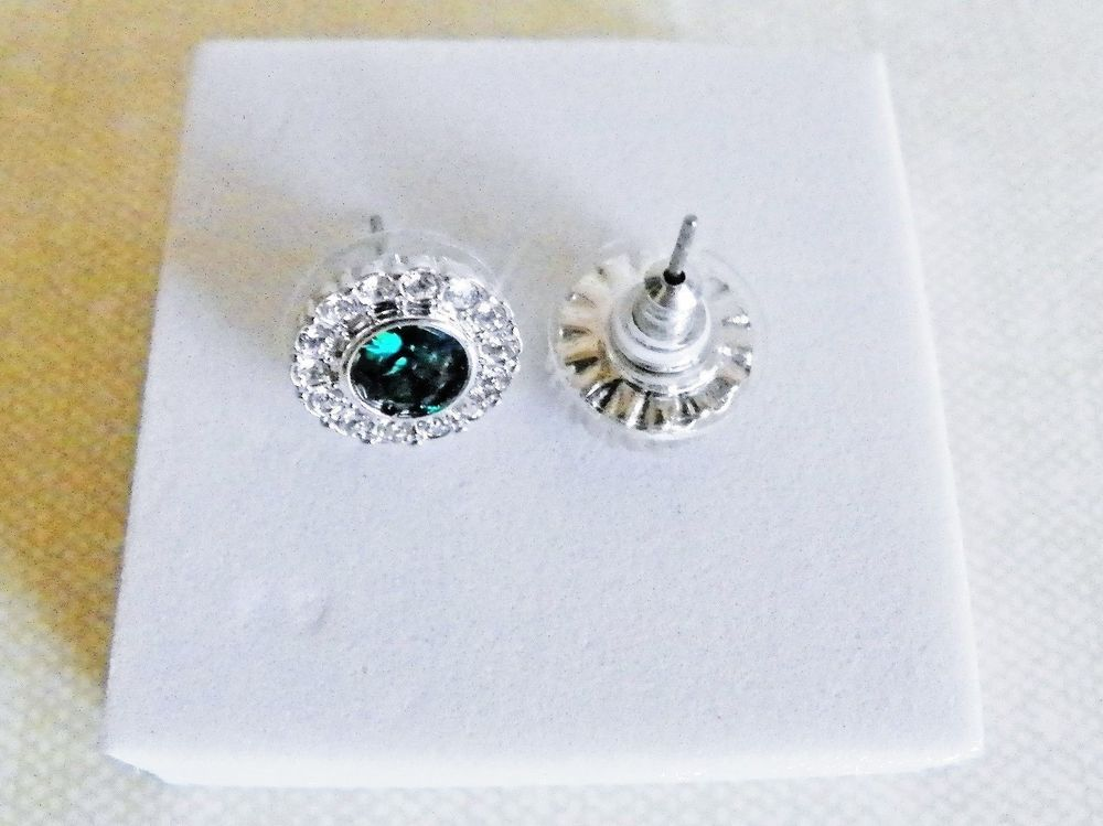 Origami Owl Green Clear Color Stud Earrings Wswarovski Crystals New