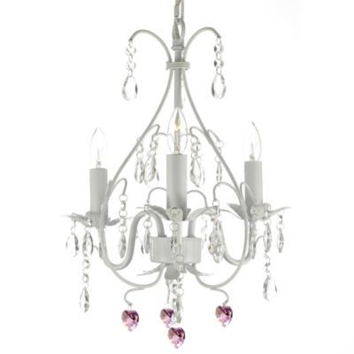 Gallery Wrought Iron Crystal 3 Light Chandelier White