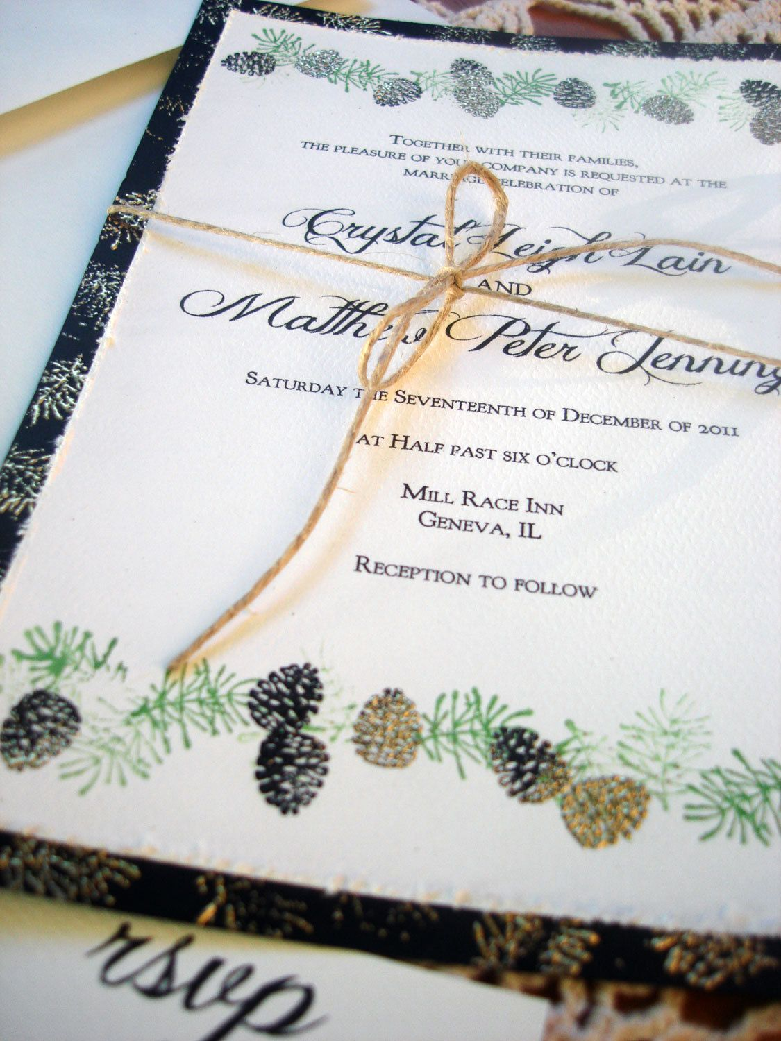 Pine Cone Winter Wedding Invitations hand stamped EMBOSSED. $4.00 ...