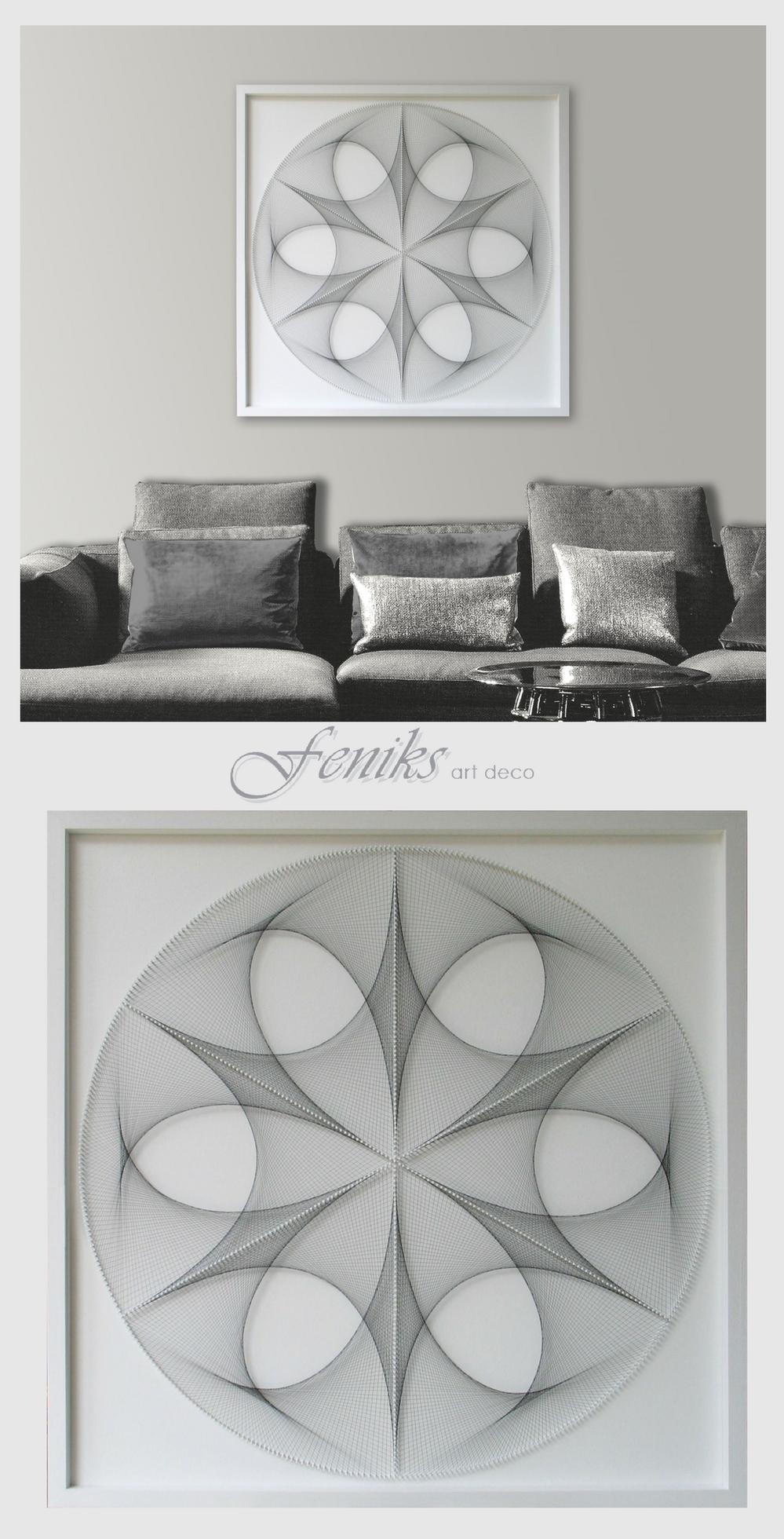 Wall art zen large white u black custom string art mandala