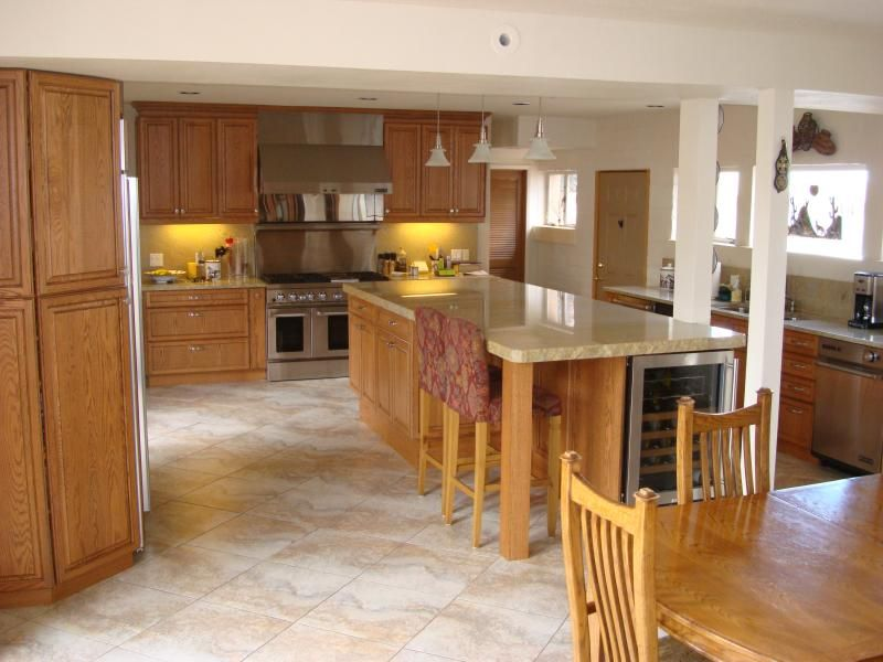 tiled floors with light oak cabinets | solid oak cabinets with ...