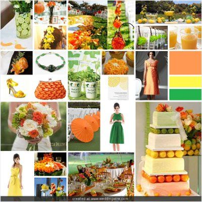 orange yellow and green wedding wedding pinterest green
