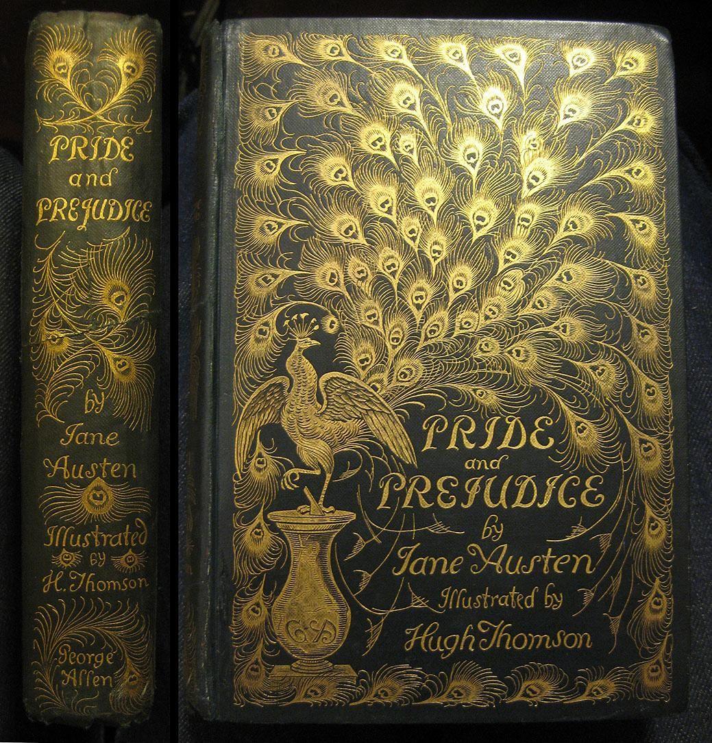 pride and prejudice book cover peacock 1894 green cloth