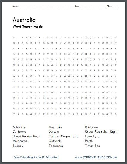 Australiau0027s Geography   Free Printable Word Search Puzzle   Blank  Certificate Of Origin  Origin Of The Word Free